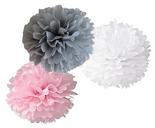 DOOXOO 12pcs Mixed Pink Gray White Tissue Paper Flower Pom Poms Wedding Baby Shower Party Nursery Hanging Decoration Favor (Pink Grey Baby Shower compare prices)