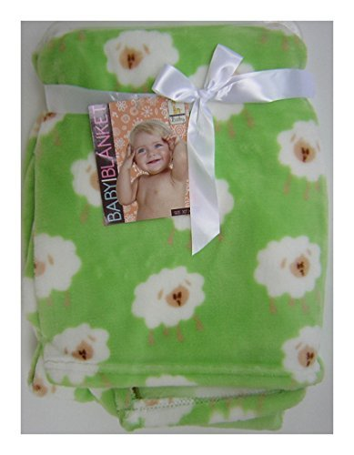 "Baby Blanket - Very Soft - Green with White Lambs - Brown Faces - 30"" X 40"""