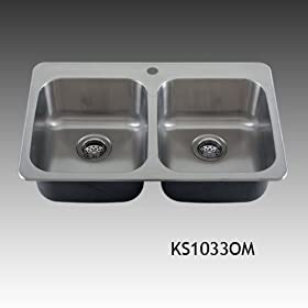 Devon Overmount 18 Gauge Stainless Steel Topmount Double Bowl Kitchen Sink Grids