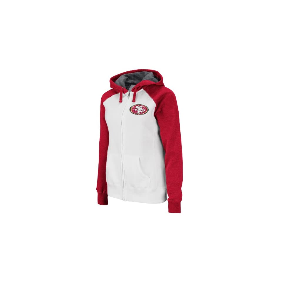 NFL Womens San Francisco 49ers Sport Princess Long Sleeve Raglan Full Zip Fleece Hoodie (White/Bright Cardinal Heather, Small)