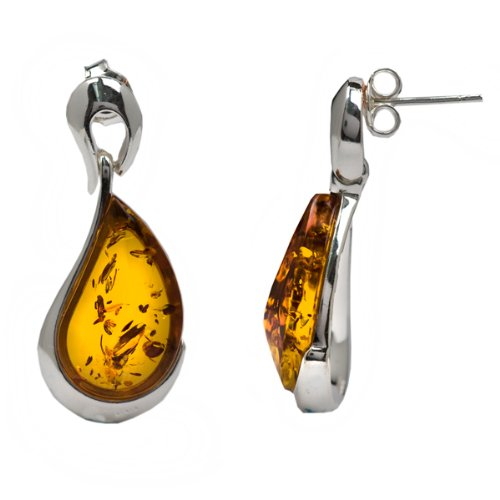 High Quality Honey Amber and Sterling Silver Earrings