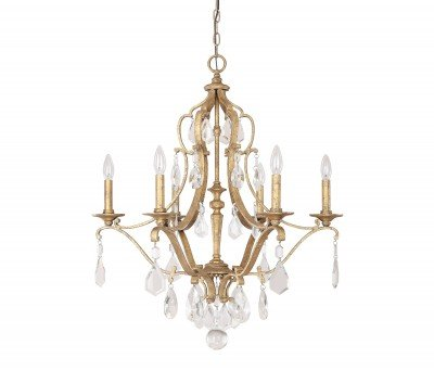 Capital Lighting 4186AG-CR Blakely 6-Light Chandelier, Antique Gold Finish with Clear Crystal Accents