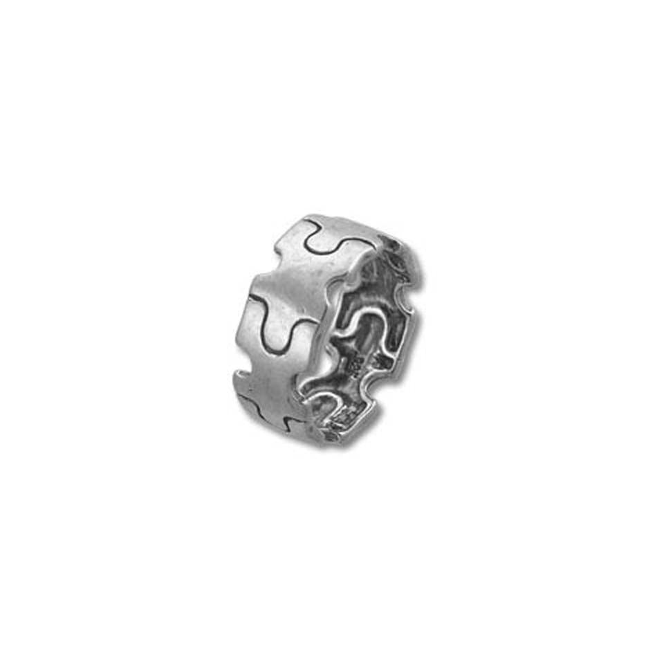 Autism Awareness Silver Stretch Puzzle Piece Ring
