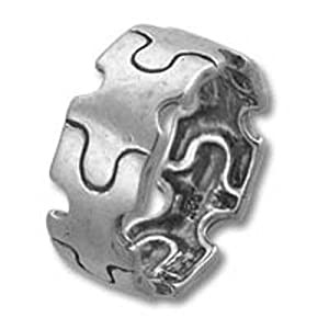 Autism Awareness Puzzle Piece Band Sterling Silver Ring Size 6