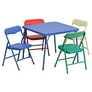kids colorful 5 piece folding table and chair set kitchen dining. Black Bedroom Furniture Sets. Home Design Ideas