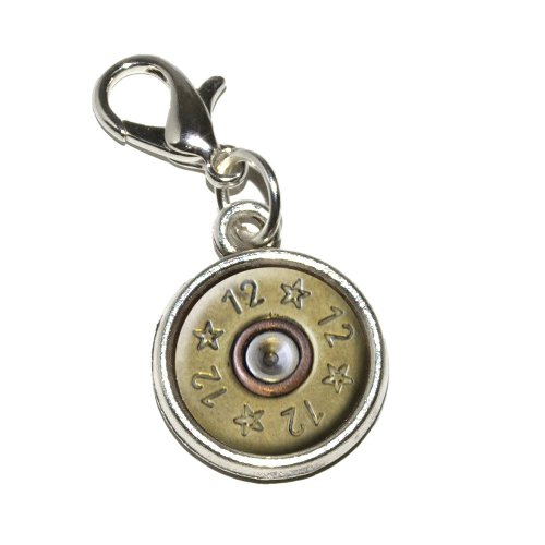 Graphics and More 12-Gauge Spent Shell Bullet Ammo Gun Antiqued Bracelet Pendant Zipper Pull Charm with Lobster Clasp (Bullet Charm Bracelet compare prices)
