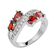 buy Rongxing Jewelry Ring Size 8 Ovel Red Garnet Women'S White Gold Filled Wedding
