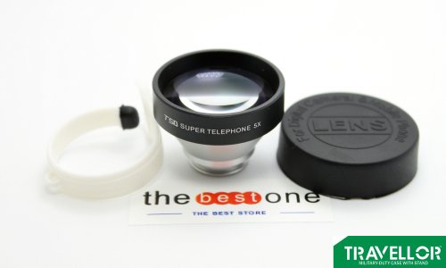 Travellor Series Ib-T50 Universal Clip Mobile Phone Lens 5X Super Telephoto Photo Lens(Easy To Carry)For Apple Iphone 4 4S 5 5C 5S & Ipad / Mini & Samsung Galaxy S3 S4 Note2 Note3 Series & Htc & Tablet Pc / Laptops & Other Smart Phone Etc-Silver