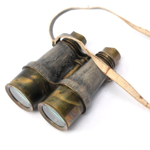 Collectibles Buy Antique Victorian Leather Covered Brass Binocular Finish 0