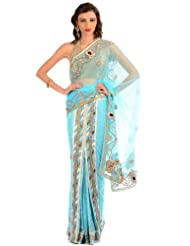 Chhabra555 Blue Net One Minute Saree - B00J4RP1K4