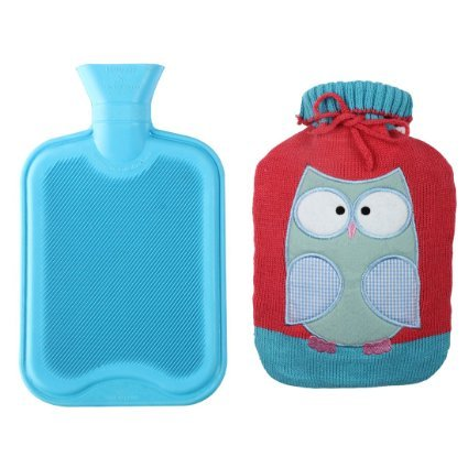 Premium Classic Rubber Hot Water Bottle w/ Cute Knit Cover (2 Liter, Blue / Red with Owl) (2 Litre Bottle compare prices)