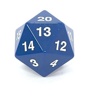 Amazon.com: Koplow 55mm Jumbo d20 Opaque Countdown Dice, Blue with