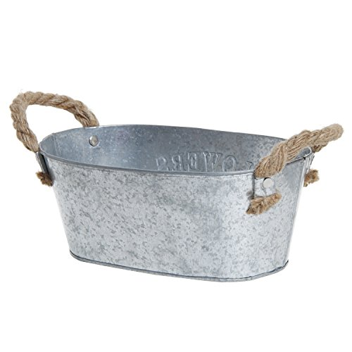 Rustic 'Flowers & Garden' Bucket Design Small Metal Succulent Plant Container w/ Twine Handles - MyGift® 2