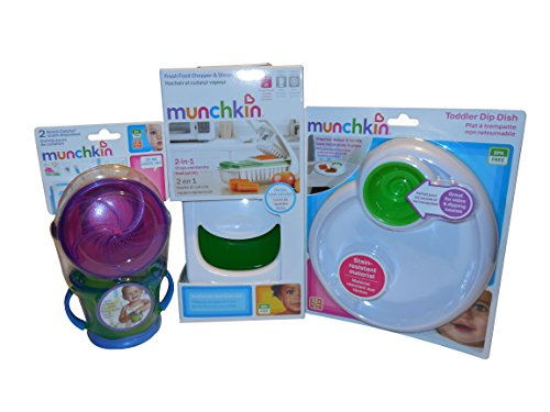 Munchkin Fresh Food Chopper & Steamer, Toddler Dip Dish, Snack Catcher Bundle (Colors May Vary) - 1