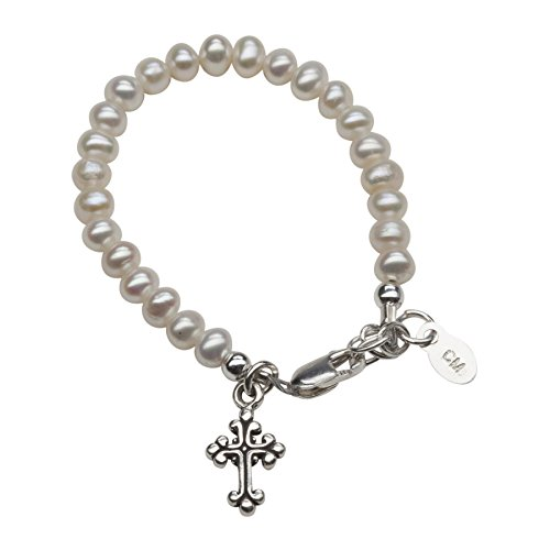 Infant's Sterling Silver Cultured Pearl Baptism Bracelet for Baby Girl with Cross (0-12 months)