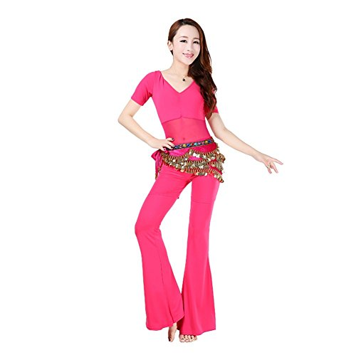 SNW Professional Belly Dance Costume Set 3pcs Short Sleeve Crop Top/Pants/Golden Coins Hip Scarf Wrap Belt Dancer Costumes Stage Performance Party Dance Clothing Sportswear Dance Costumes Practice Costume as a gift