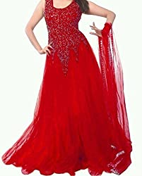 Vadaliya Enterprise Women's Embroidered Net Red Gown