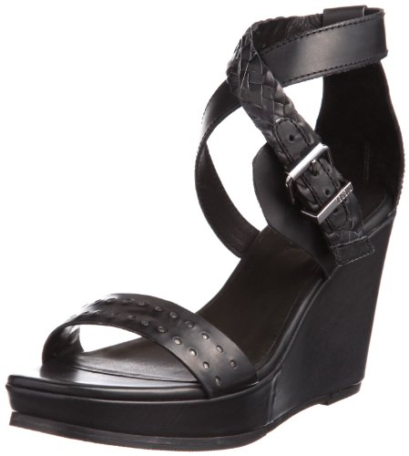 Diesel Women's Lady Deep Domey Wedge Sandal,Black,7.5 M US Picture