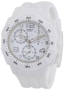 swatch Men's SUIW402 Quartz White Dial Chronograph Plastic Watch
