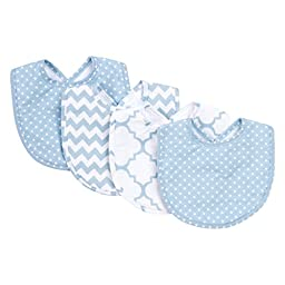 Trend Lab Sky 4 Pack Bib Set, Blue