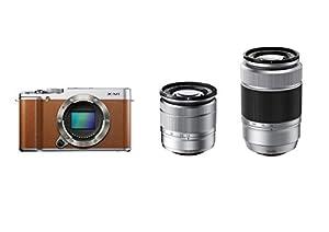 Fujifilm X-M1 kompakte Systemkamera (16,3 Megapixel, 7,6 cm (3 Zoll) LCD-Display, 2-fach Digitaler Zoom, WiFi) Kit inkl.XC 16-50 und 50-230 mm Objektiv braun