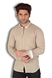 Kivon Men's Creame Plain Slim Fit Casual Shirt