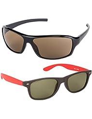 New Stylish UV Protected Combo Pack Of Sunglasses For Women / Girl ( BrownWrap-RedWayfarer ) ( CM-SUN-060 )