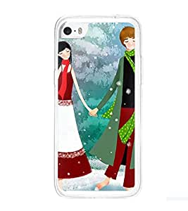 Printvisa Romantic Couple In Snowfall Back Case Cover for Apple iPhone 5C