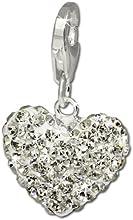 SilberDream Charm / Dijes con Elementos de Swarovski - Corazón / blanco shiny - Cierre de Mosquetón - 925/1000 Plata de ley GSC216W