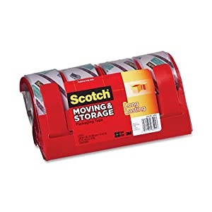 Scotch Moving and Storage Tape 3651-4C, 1.88 Inches x 38.2 Yards, 4-Pack