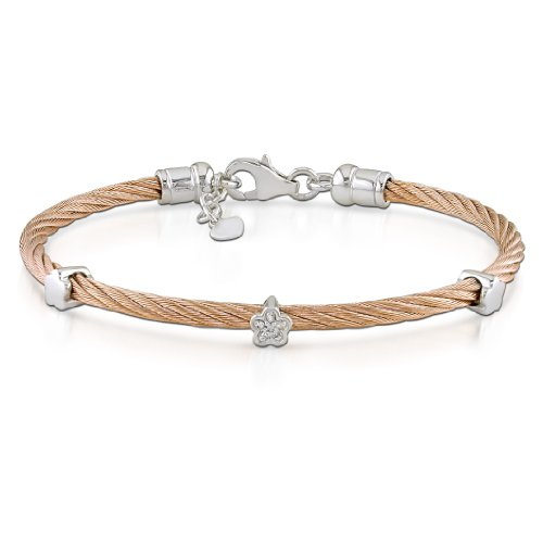 Sterling Silver and Stainless Steel 0.02 CT TDW Diamond Pink Cable Bangle Bracelet (J-K, I3)