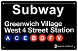 New York City Subway Greenwich Village Metal Sign - 28x43 cm