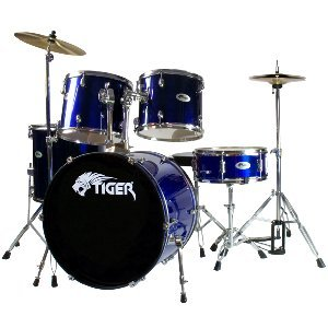 Tiger Full Size Beginner Drum Kit - Blue