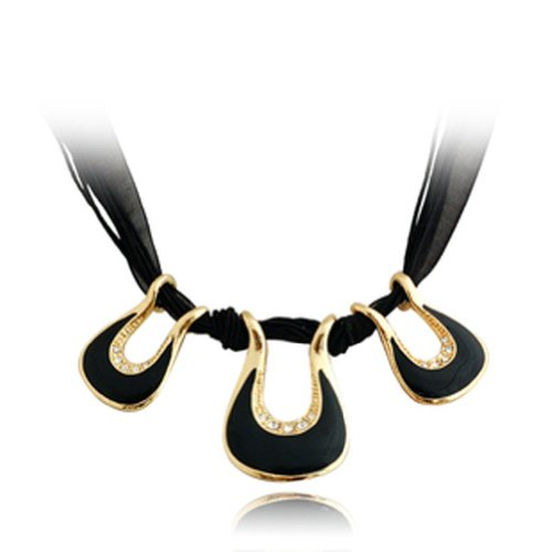 Chaomingzhen Gold Plated Charm Bohemia 3 Black Pendant Choker Necklace Fashion Jewerly for Women Purple Party Wax Rope Chain ,Inlaid Austria Crystal