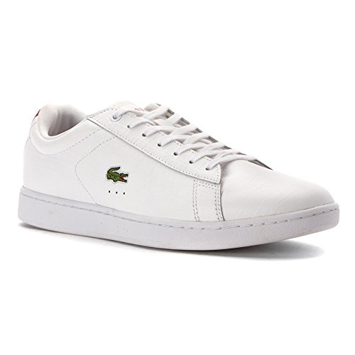 Lacoste Women's Carnaby Evo Mid G316 2 Fashion Sneaker, White/Red, 8.5 M US
