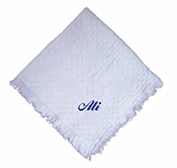 Ali Embroidered Boy Embroidered Cotton Woven White Baby Blanket