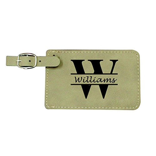 Personalized Leather Luggage Tags - Engraved Monogrammed Custom Business Travel Accessories Gift (Luggage Tags Personalized Leather compare prices)