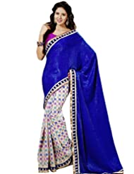 Bharat Plaza Navy Blue Georgette Sari