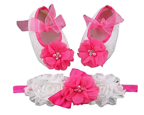 PinkXenia Shabby flowers Ballerina Booties Vintage Diamond Pearl Crib Shoes and Headbands set