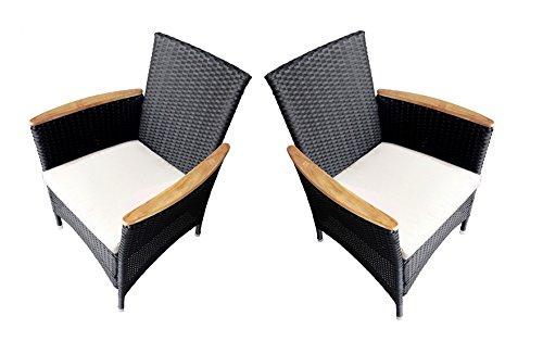 Ambientehome Polyrattan Stuhl Sessel Lubango, schwarz, 2-teiliges Set günstig