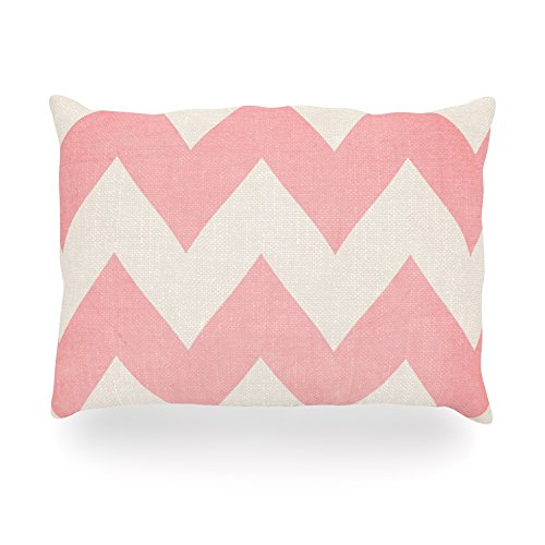 "Kess Inhouse Catherine Mcdonald ""Sweet Kisses"" Pink Chevron Oblong Rectangle Outdoor Throw Pillow, 14 By 20-Inch front-997987"