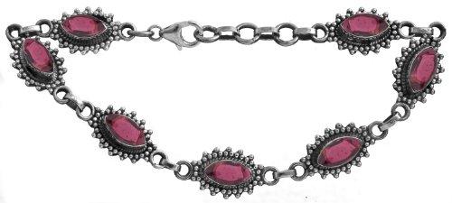 Sterling Bracelet with Gems - Sterling Silver - Color Garnet