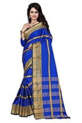 Fabcart Blue Color Art Silk Saree with Blouse Piece