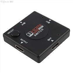 AlexVyan®-Genuine Accessory with 1 year warranty- 3 Port HDMI Switch - Mini Hdmi Switch 3-in 1-out (Hdmi V1.3) Intelligent,1080p Auto Switch