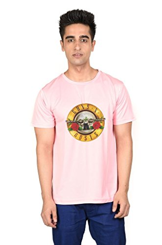 LetsFlaunt Guns N Roses T-shirt Pink Guys Dry-Fit-Large Nw  available at amazon for Rs.449