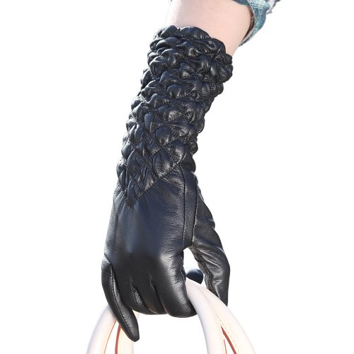 WARMEN Classic Leather Ruched Elbow Length Long Evening Dress Gloves (M, Black)