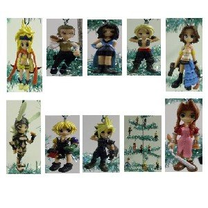 Unique Set of 10 Final Fantasy Christmas Tree Ornaments Featuring Balthier, Fran, Panelo, Vaan, Rikku, Cloud, Yuna, Rinoa, Aeris Ornaments - Unique Shatter Proof Design - Great for Kids