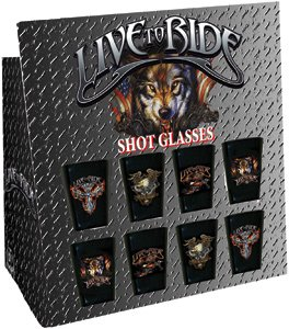 """8 X Exclusive Live To Ride """"Shot Glasses"""" Set, Original Licensed Artwork Designs - 8 Total Piece Count, With Display"""