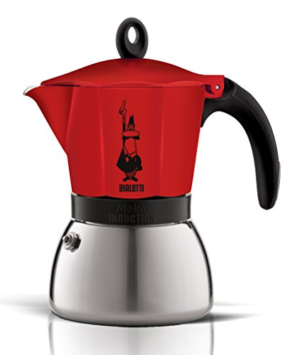 Bialetti Induction Moka Coffee Maker 3 Cup Aluminium and Stainless Steel Red (Red Bialetti compare prices)