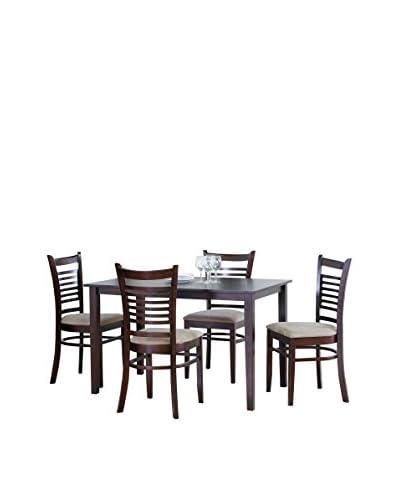 Baxton Studio Cathy 5-Piece Dining Set, Light Cappuccino